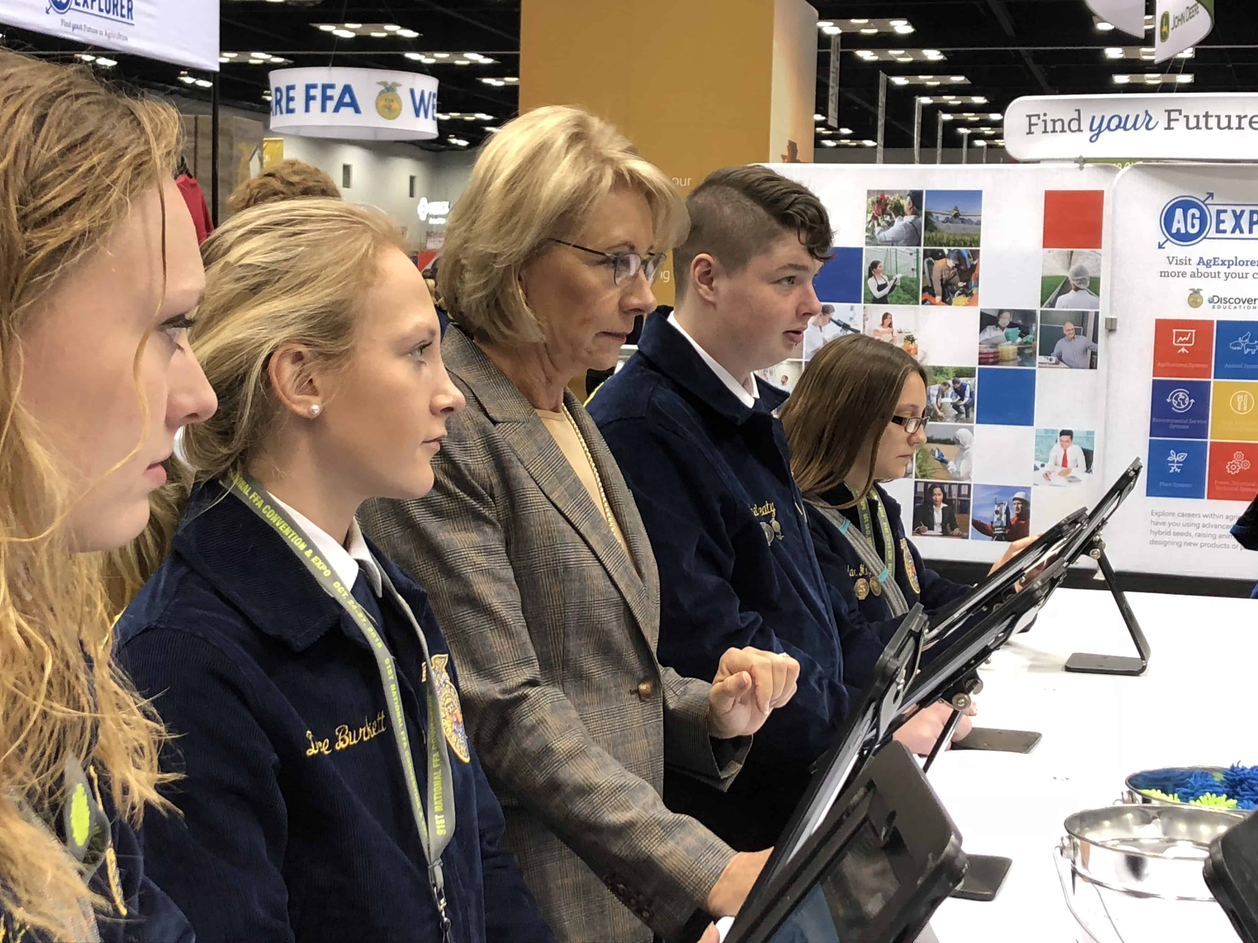 Secretary of Education Betsy DeVos Tours FFA Convention and Expo