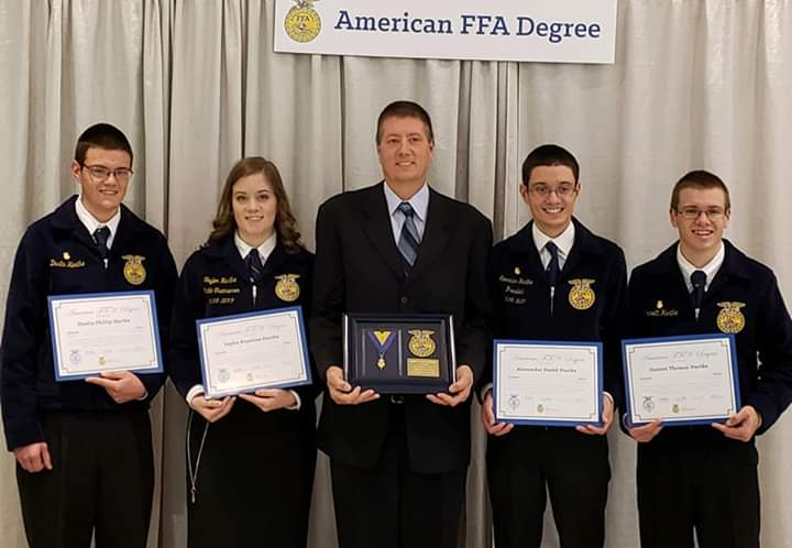 Quads and Dad Receive American FFA Degrees
