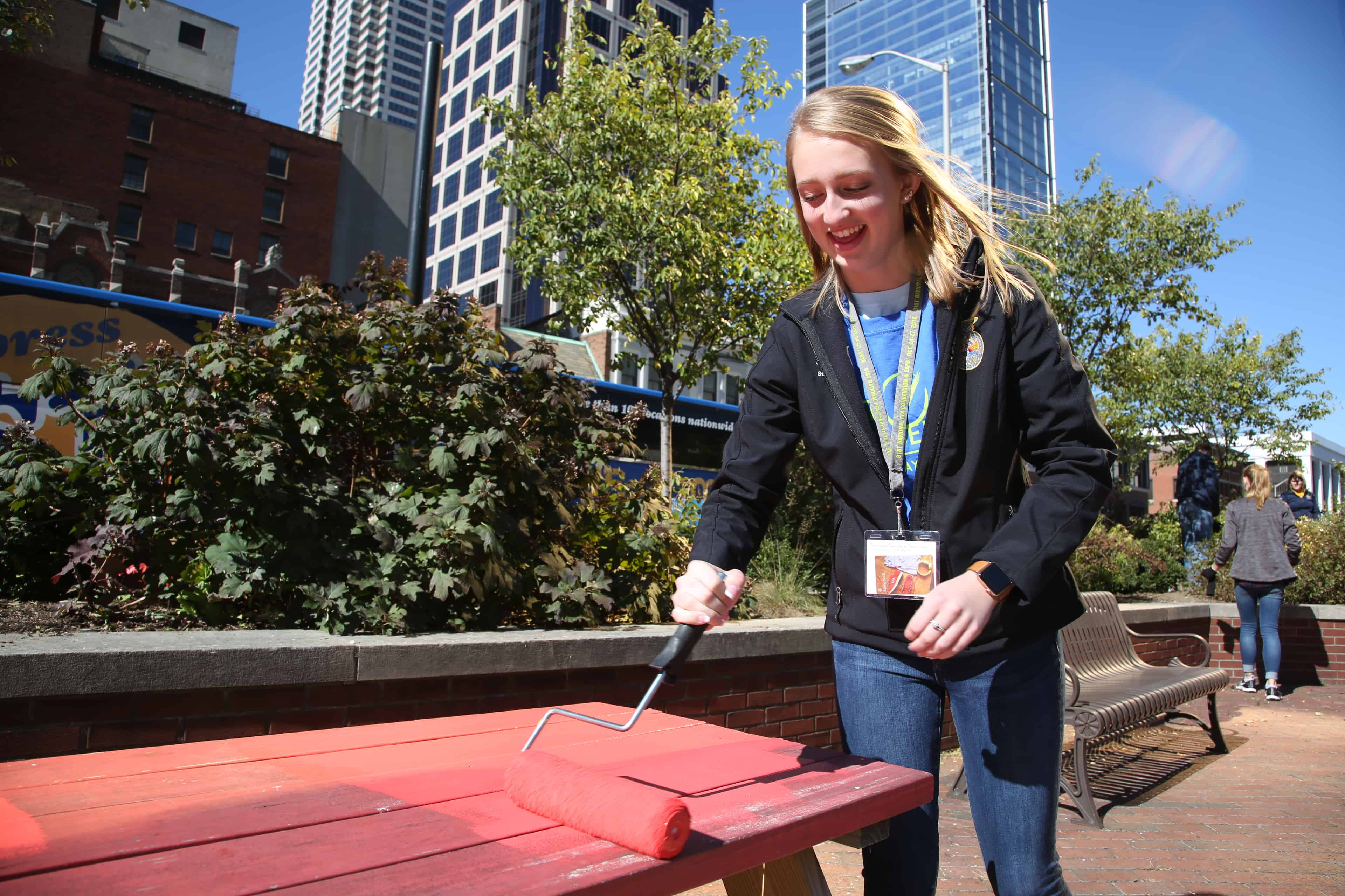 An FFA member participates in National Days of Service in Indianapolis.